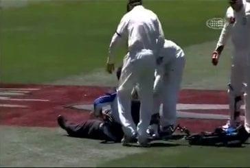 Une caméraman qui tombe sur un os !