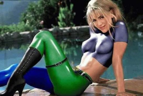 Bodypainting intégral En vert et bleu