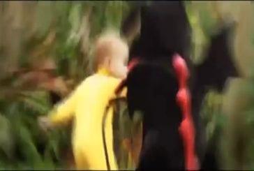 Bébé dragon se bat avec un enfant