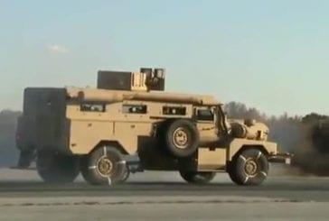 Test des freins d'un camion de l'armée