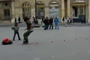 Roller incroyable en pleine rue
