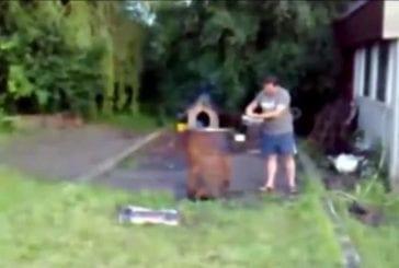 Homme soufflé par l'explosion de ses ordures