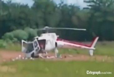 Hélicoptère tombe en morceaux à l'atterrissage