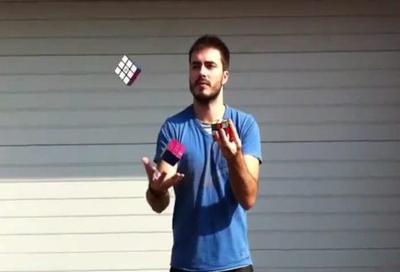 Comment resoudre un rubik's cube en jonglant