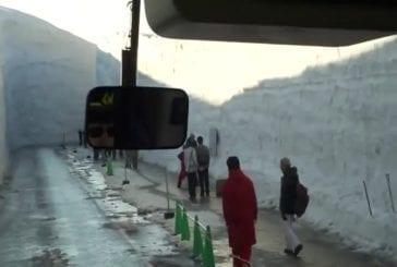Conduire à travers 15 mètres de neige au Japon