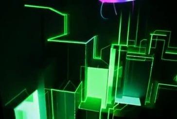 Projection 3D de lumière synchronisée sur une surface 3D