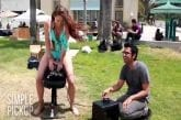 Riding a Sex Toy in Public for Charity (Sybian)