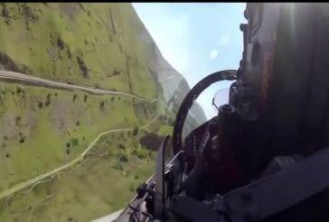 Raf typhon effectue un vol à basse altitude