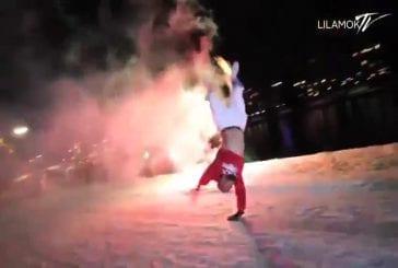 Breakdance avec feux d'artifice